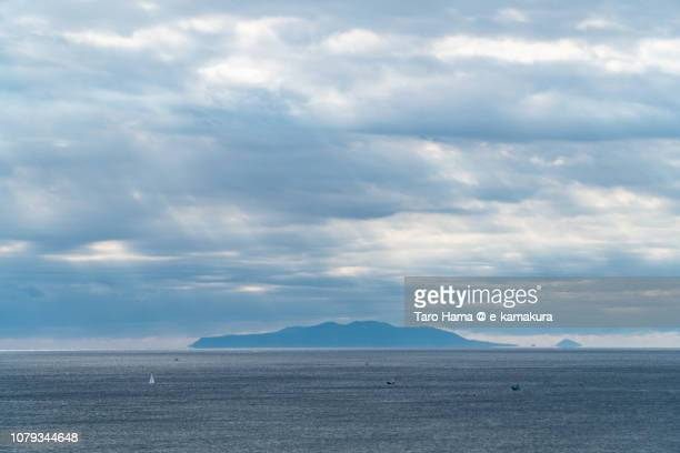 Sunbeam on Oshima Island in Tokyo and Sagami Bay, Northern Pacific Ocean in Kanagawa prefecture in Japan