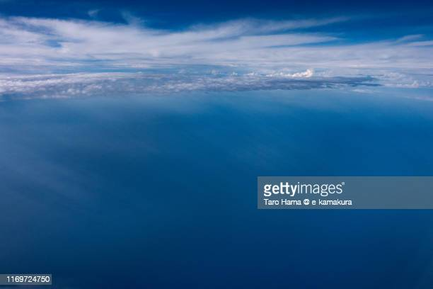 sunbeam on pacific ocean in japan daytime aerial view from airplane - 太平洋 ストックフォトと画像