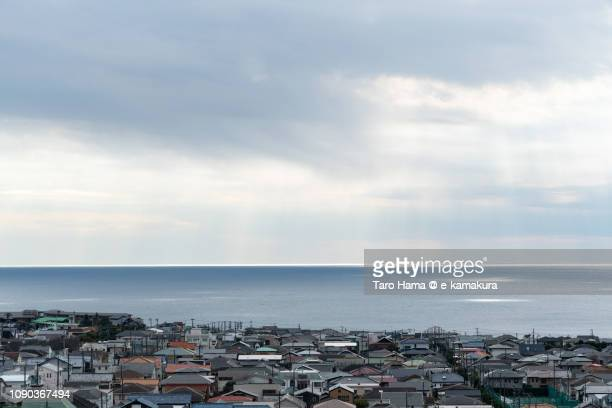 Sunbeam on residential town by the sea and Sagami Bay, Pacific Ocean in Japan