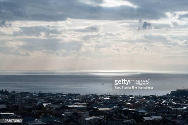 Sunbeam on Sagami Bay, Northern Pacific Ocean and Shichirigahama town in Kamakura city in Kanagawa prefecture in Japan