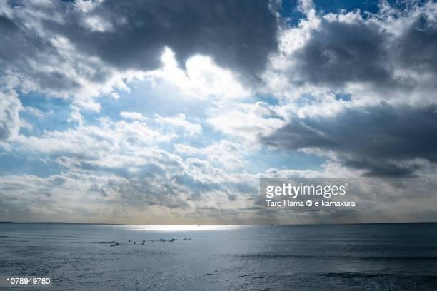 Sunbeam on Sagami Bay, Northern Pacific Ocean in Kanagawa prefecture in Japan