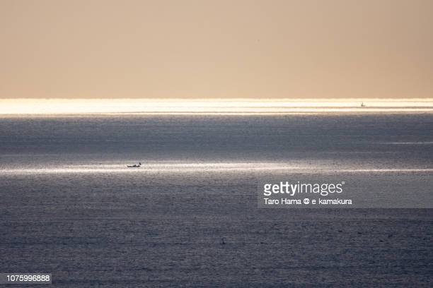 Sunbeam on sailing boat on Sagami Bay in Kanagawa prefecture in Japan