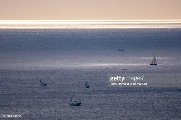 Sunbeam on sailing yacht on Sagami Bay in Kanagawa prefecture in Japan