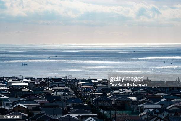 Sunbeam on Shichirigahama town by the sea in Kamakura city and Sagami Bay, Pacific Ocean in Japan