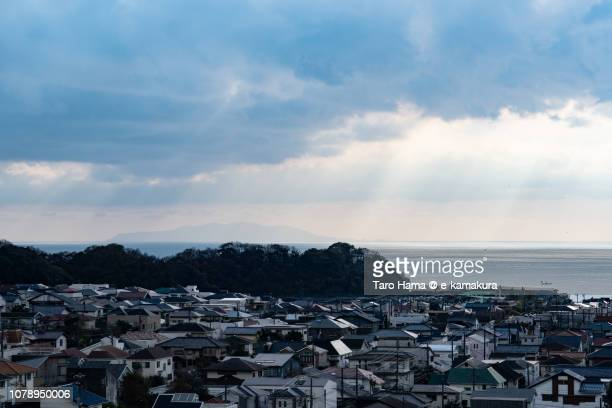 Sunbeam on Shichirigahama town by the sea in Kamakura city and Sagami Bay, Pacific Ocean in Japan