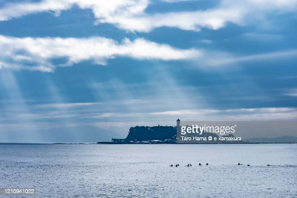 sunbeam on the beach in kanagawa prefecture of japan - 神奈川県 ストックフォトと画像