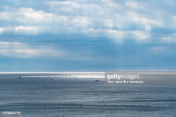 Sunbeam on the sailing yachts on Sagami Bay, Northern Pacific Ocean in Japan