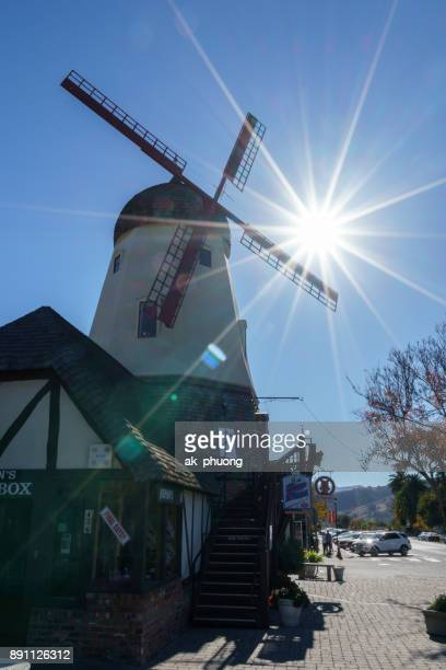 Sunbeam on the windmill at Solvang village, California USA