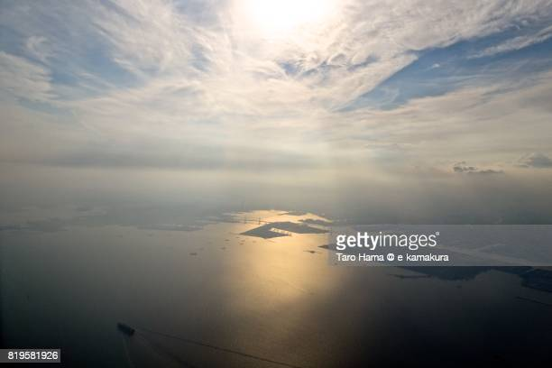 Sunbeam on Yokohama harbor in Kanagawa prefecture sunset time aerial view from airplane