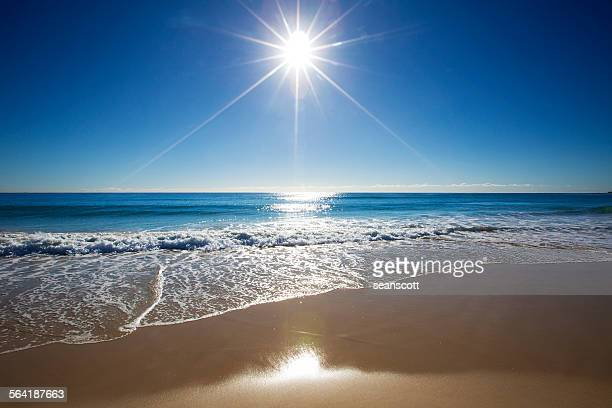 Sunbeam over the sea on Gold Coast, Queensland, Australia