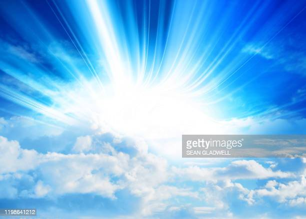 sunbeam sky - heaven stock pictures, royalty-free photos & images