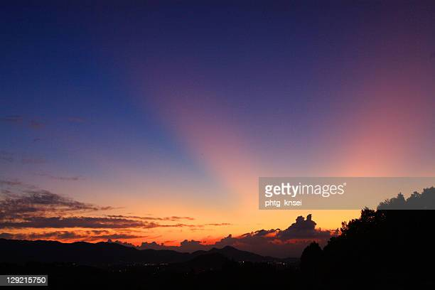 sunbeams after sunset - asuka stock pictures, royalty-free photos & images
