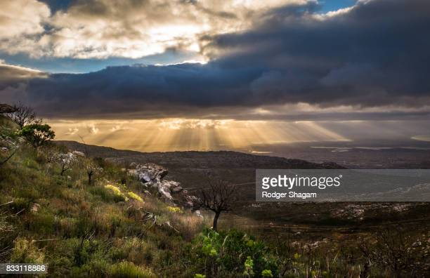 sunbeams and storm clouds in the mountains - fynbos fotografías e imágenes de stock