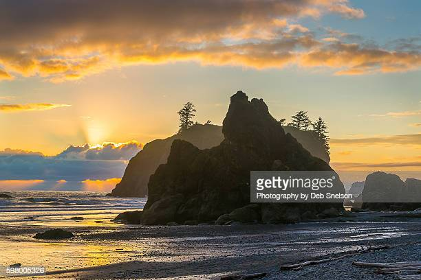 Sunbeams and Sunset on Ruby Beach in the Olympic National Park Washington