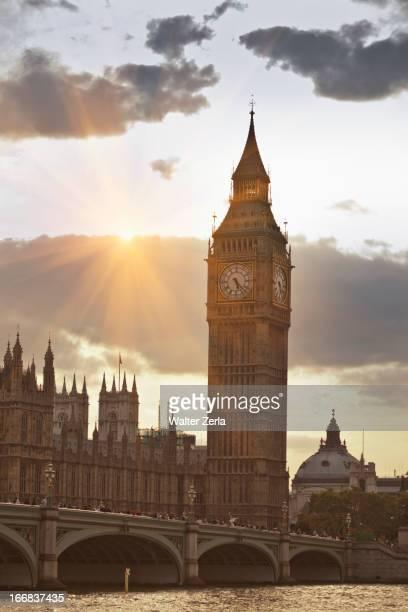 Sunbeams on Big Ben clock tower