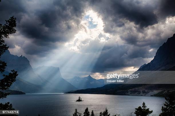 Sunbeams over Saint Mary Lake, Glacier County, Glacier National Park, Montana, USA