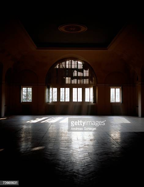 sunbeams shining in empty ballroom - ballroom stock pictures, royalty-free photos & images