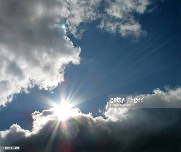 Sunbeams with blue sky