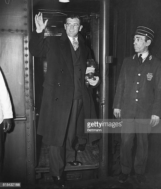 Sunburned and full of pep heavyweight champion James J Braddock arrived in New York City Feb 9th According to wire reports he branded Joe Louis'...