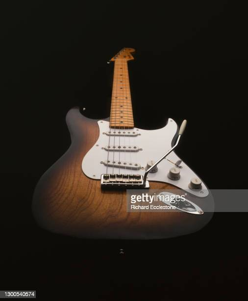 Sunburst Custom Shop Fender Stratocaster guitar, studio shot.