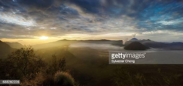 Sunburst sunrise over Mount Bromo