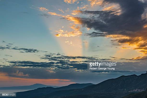 Sunburst, Sunset in Taygetos Mountains Peloponnese