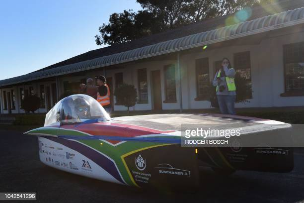 Sunchaser 3 a South African entrant from the University of Tswane finishes Day 7 of the Sasol Solar Challenge on September 28 in Swellendam South...
