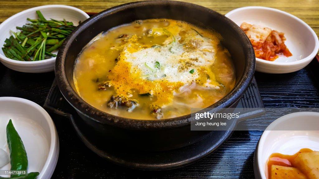 Sundae gugbab(Sundae rice soup) : Stock Photo
