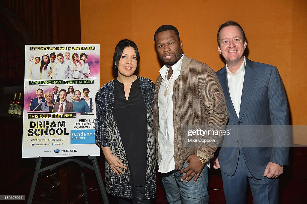 Sundance Channel President Sarah Barnett, Curtis '50 Cent' Jackson, and Executive Producer of Dream School Andrew Jameson pose for a picture before speaking on a Panel On Education In Anticipation Of Upcoming Series 'Dream School' on October 1, 2013 in New York City.