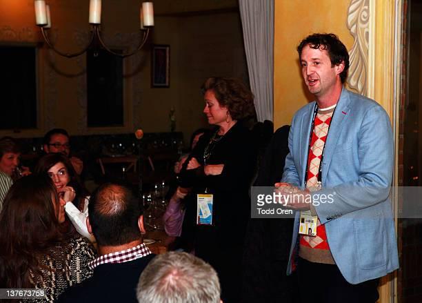 Sundance Director of the Documentary Program Cara Mertes and Sundance Programmer Trevor Groth attends the Skoll Opening Dinner during the 2012...