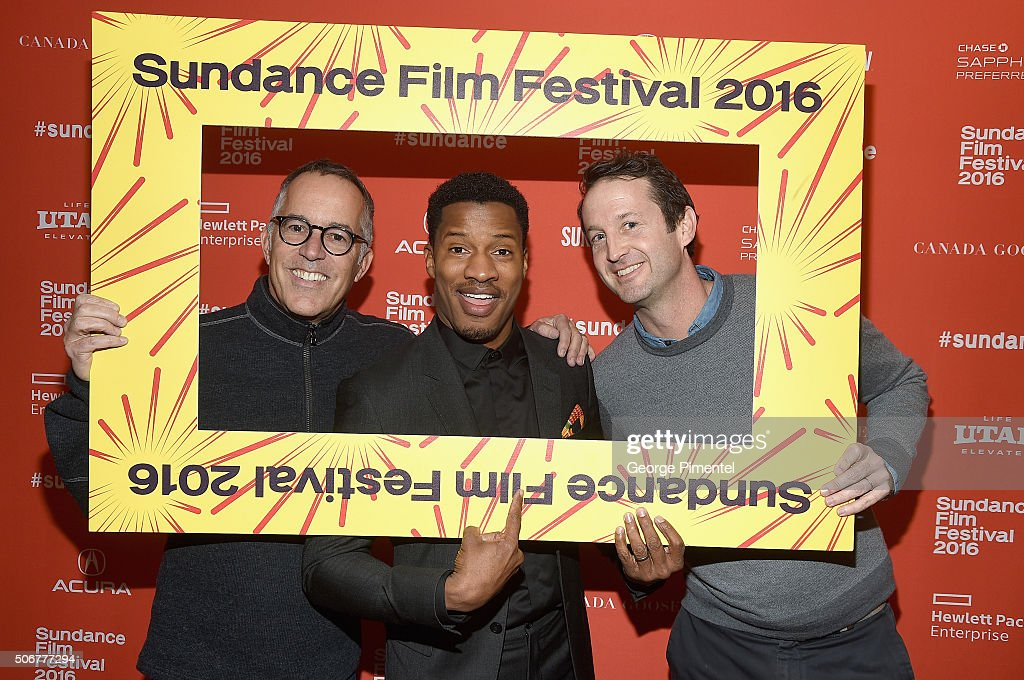Sundance Festival Director John Cooper, actor and director Nate Parker, and Sundance Film Festival Director of Programming Trevor Groth attend the 'The Birth Of A Nation' Premiere during the 2016 Sundance Film Festival at Eccles Center Theatre on January 25, 2016 in Park City, Utah.