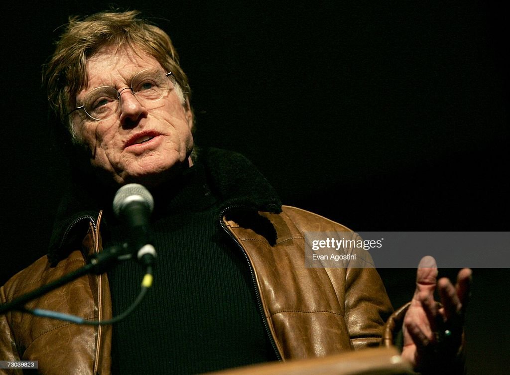 Sundance festival founder Robert Redford speaks during the opening night premiere of 'Chicago 10' held at the Eccles Theater during the 2007 Sundance Film Festival on January 18, 2007 in Park City, Utah.
