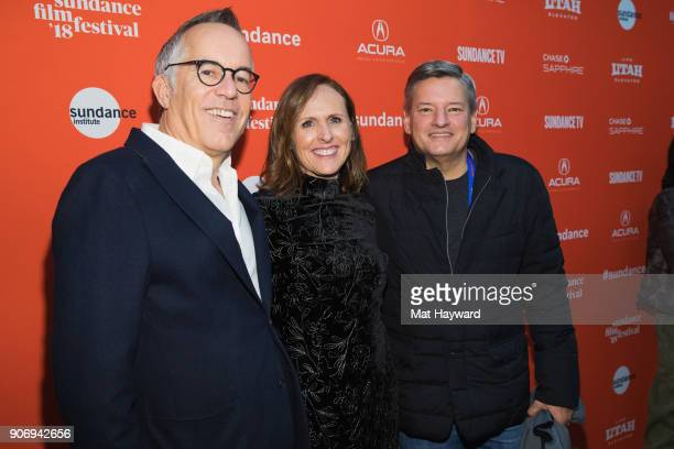 Sundance Film Festival Director John Cooper actress Molly Shannon and Netflix's Ted Sarandos attend the 2018 Sundance Film Festival Premiere of...