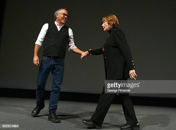 Sundance Film Festival Director John Cooper and actress Shirley MacLaine are seen onstage at The Last Word Premiere at Eccles Center Theatre on...