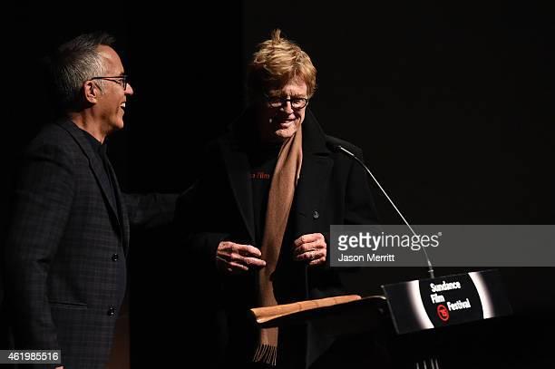 Sundance Film Festival director John Cooper and President and founder of the Sundance Institute Robert Redford speak on stage at Netflix's 'What...