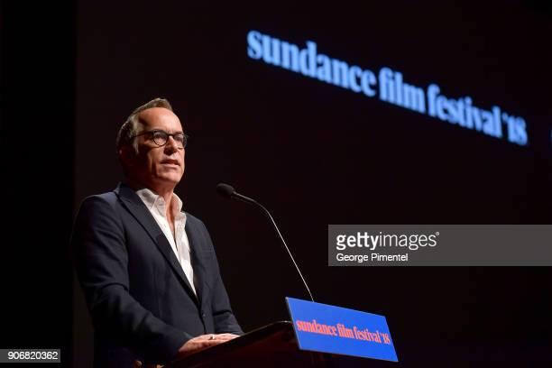 "Sundance Film Festival Director John Cooper speaks onstage at the ""Blindspotting"" Premiere during the 2018 Sundance Film Festival at Eccles Center..."