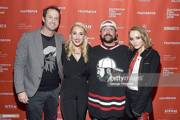Sundance Film Festival Director of Programming Trevor Groth Harley Quinn Smith Director Kevin Smith and LilyRose Depp attend the Yoga Hosers Premiere...