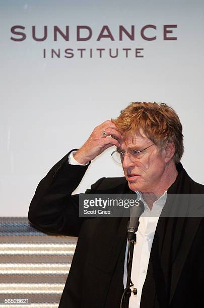 Sundance Film Festival founder Robert Redford speaks during a press conference to announce an artistic collaboration to be launched in May 2006...