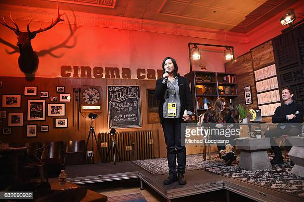 Sundance Film Festival programmer Kim Yutani Writer Amy Kaufman and Logan Lerman attend the Cinema Cafe at Filmmaker Lodge on January 25 2017 in Park...