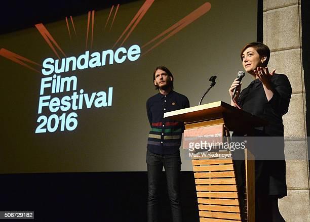 Sundance Film Festival Senior Programmer Charlie Reff and director Anna Rose Holmer speak at The Fits Premiere during the 2016 Sundance Film Festival...