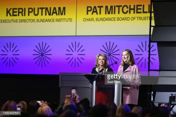 Sundance Institute Board Chair, Pat Mitchell and CEO of Sundance Institute, Keri Putnam speak onstage during the 2020 Women at Sundance Celebration...
