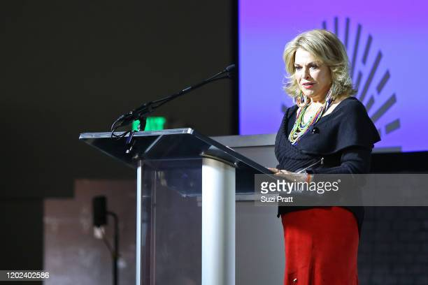 Sundance Institute Board Chair, Pat Mitchell speaks onstage during the 2020 Women at Sundance Celebration hosted by Sundance Institute and...