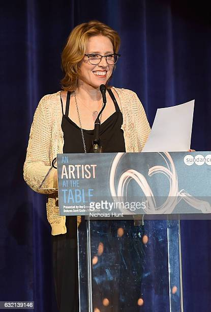 Sundance Institute Board of Trustees member Amy Redford speaks onstage during An Artist at the Table Benefit during the 2017 Sundance Film Festival...