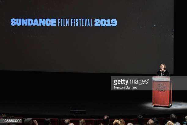 Sundance Institute CFO Managing Director Betsy Wallace speaks during Salt Lake Opening Night Screening Of The Boy Who Harnessed The Wind Presented By...