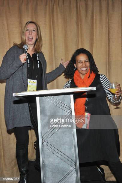 Sundance Institute executive director Keri Putnam and Documentary Film Program Fund Director Tabitha Jackson speak at the Foundations Reception at...