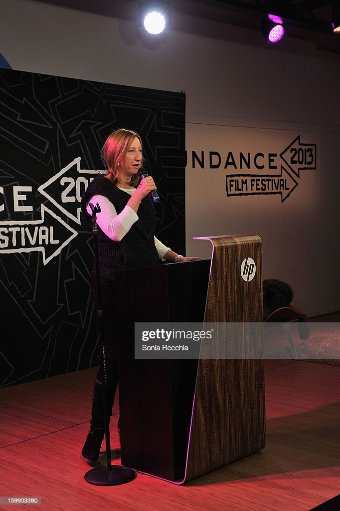 Sundance Institute Executive Director Keri Putnam speaks onstage during the Sundance Institute Mahindra Global Filmmaking Award Reception at Sundance House on January 22, 2013 in Park City, Utah.