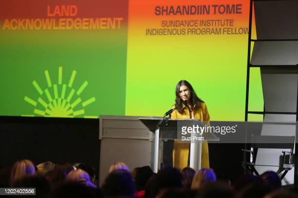 Sundance Institute Indigenous Progam Fellow, Shaandiin Tome speaks onstage during the 2020 Women at Sundance Celebration hosted by Sundance Institute...