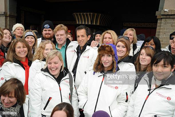 Sundance Institute President and Founder Robert Redford and designer Kenneth Cole pose with 2010 Sundance Film Festival volunteers outside the...