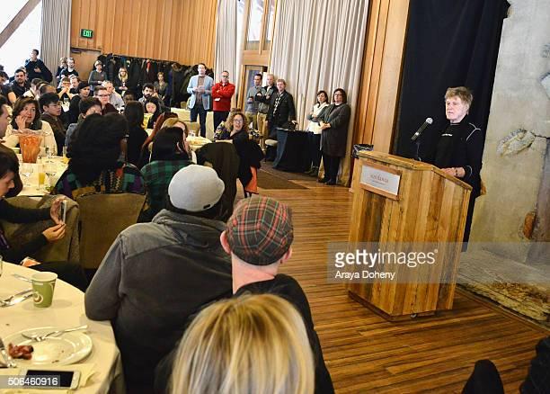 Sundance Institute President and Founder Robert Redford speaks at the Directors' Brunch during the 2016 Sundance Film Festival at Sundance Resort on...