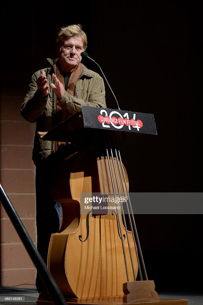 Sundance Institute President and Founder Robert Redford speaks ontage during the premiere of 'Whiplash' at the Eccles Center Theatre during the 2014 Sundance Film Festival on January 16, 2014 in Park City, Utah.